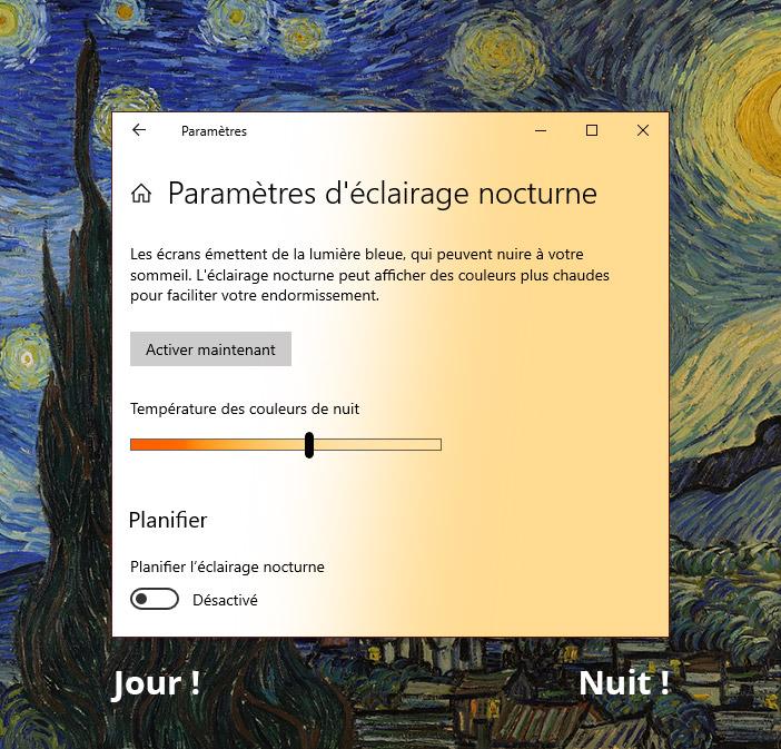 Le web du futur #1: un affichage qui varie en fonction de la luminosité: les paramètres d'éclairage nocturne sur Windows
