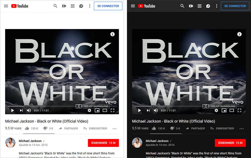 Le web du futur #1: un affichage qui varie en fonction de la luminosité: le thème classique et le thème foncé de Youtube